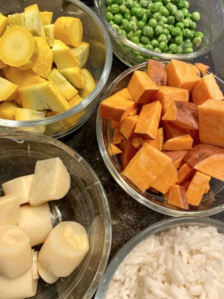 vegetables and rice for vegetable and rice soup