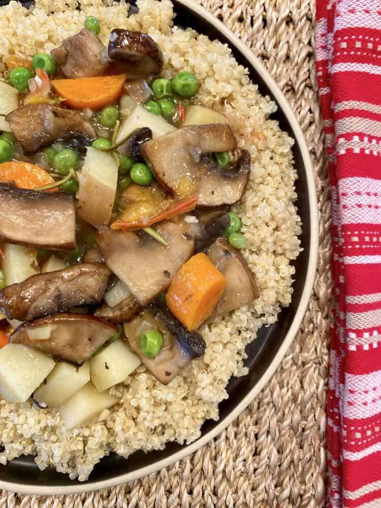 Portobello Mushroom Pot Roast with quinoa