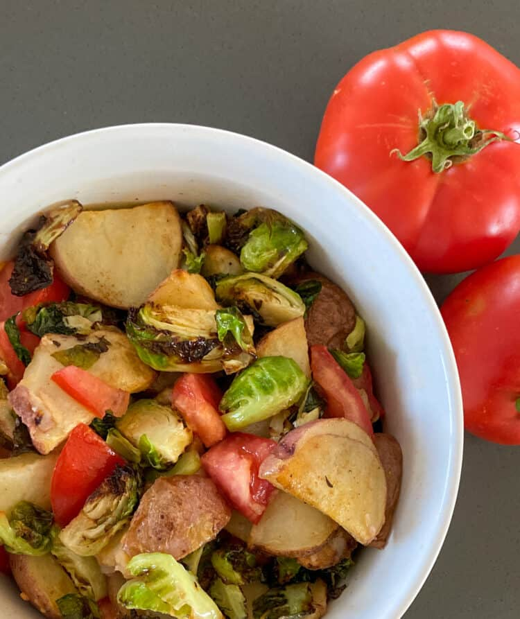 Air-fried Brussel Sprout Potato and Tomato Bowl