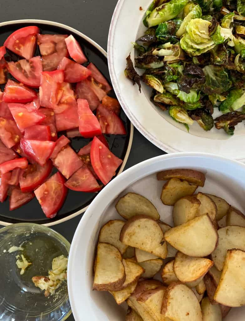 Air-fried Brussel Sprout, Potato and Tomato Bowl