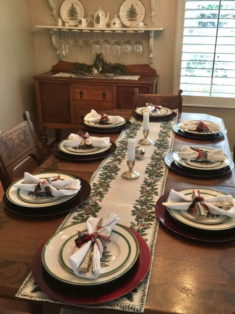 Dining Room Table dressed up for the holidays with Spode Christmas Tree China